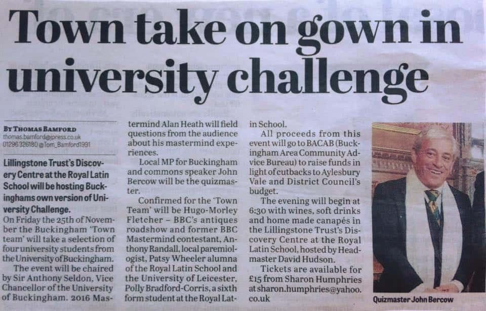 BACAB Town vs Gown quiz Buckingham Town